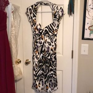 Silky fitted wild cat print dress